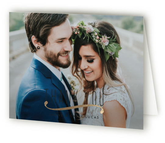 This is a landscape classical, metallic, modern, simple, black Wedding Thank You Cards by Tim St. Clair called Connected with Foil Pressed printing on Standard Cover in minibook fold over (blank inside) format. Wanted to try something that incorporated a ...