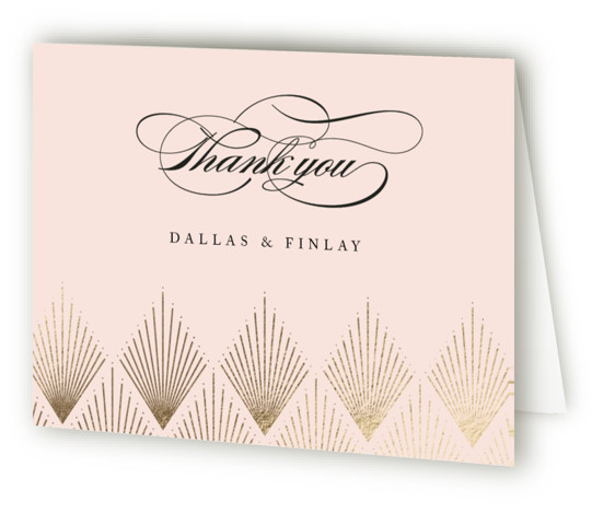This is a landscape geometric, vintage, pink, gold Wedding Thank You Cards by Kelly Schmidt called Deco Fan Border with Foil Pressed printing on Standard Cover in minibook fold over (blank inside) format. A delicate art deco inspired border complements ...