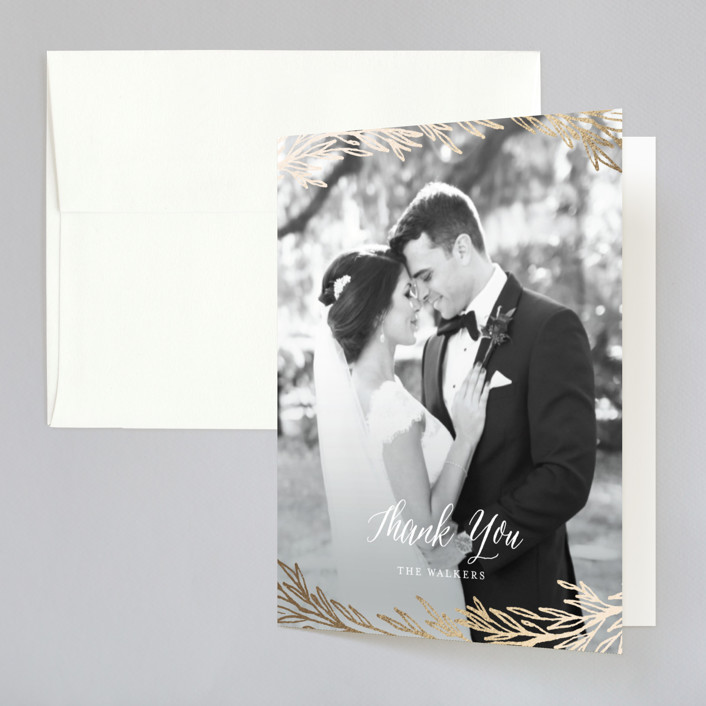 """""""Embrace"""" - Foil-pressed Thank You Cards in Sea Mist by Grace Kreinbrink."""