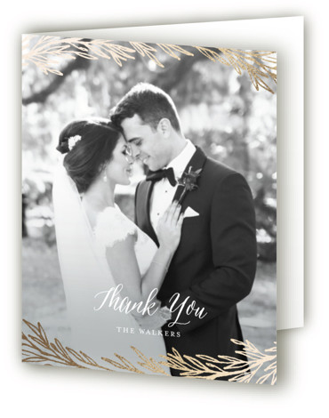 This is a portrait botanical, blue, gold Wedding Thank You Cards by Grace Kreinbrink called Embrace with Foil Pressed printing on Standard Cover in minibook fold over (blank inside) format. Hand drawn gold foil laurels and branches cascade onto this ...