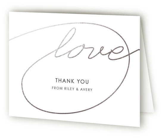 This is a landscape classical, metallic, modern, simple, silver, grey Wedding Thank You Cards by Kim Dietrich Elam called Love Lasso with Foil Pressed printing on Standard Cover in minibook fold over (blank inside) format. Minimal, type based design.