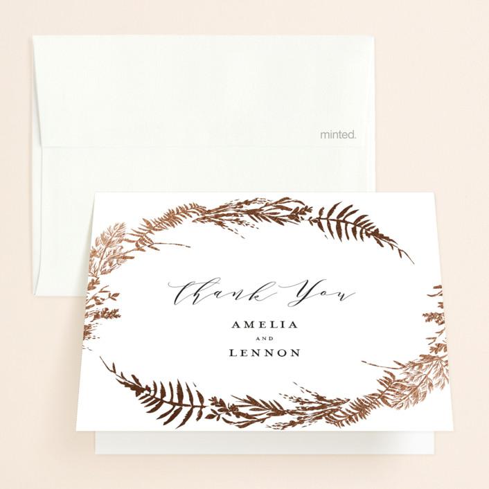 """Fresh Vines"" - Rustic Foil-pressed Folded Thank You Card in Fern by Susan Moyal."