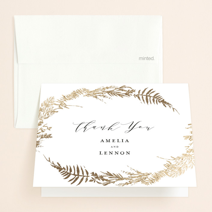 """Fresh Vines"" - Foil-pressed Folded Thank You Card in Fern by Susan Moyal."