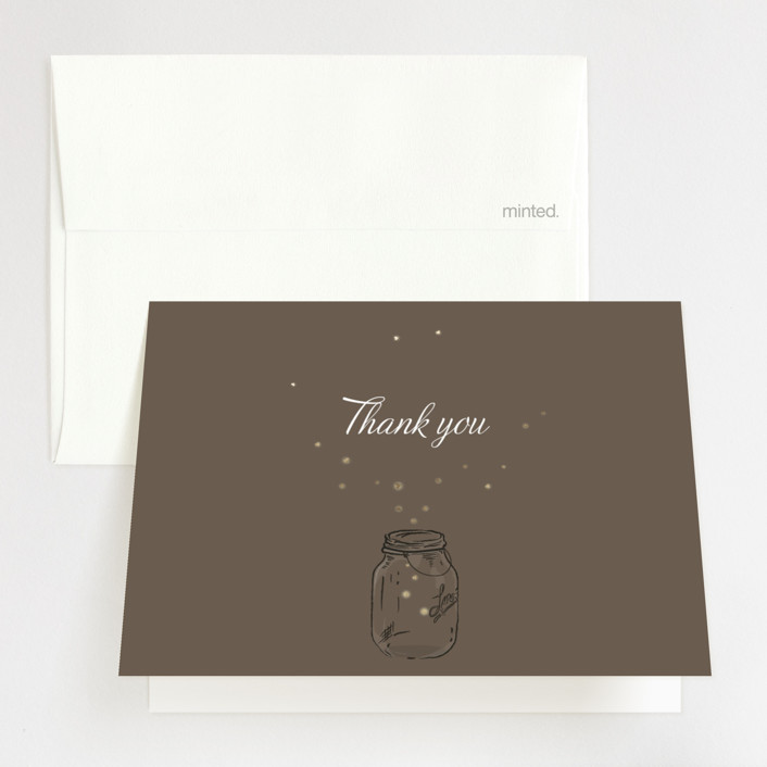 """Fireflies"" - Foil-pressed Thank You Cards in Zuni Brown by Paige Rothhaar."
