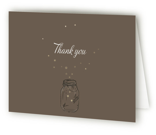 This is a landscape hand drawn, rustic, vintage, brown, gold Wedding Thank You Cards by Paige Rothhaar called Fireflies with Foil Pressed printing on Standard Cover in minibook fold over (blank inside) format. Inspired by vintage mason jars and the ...