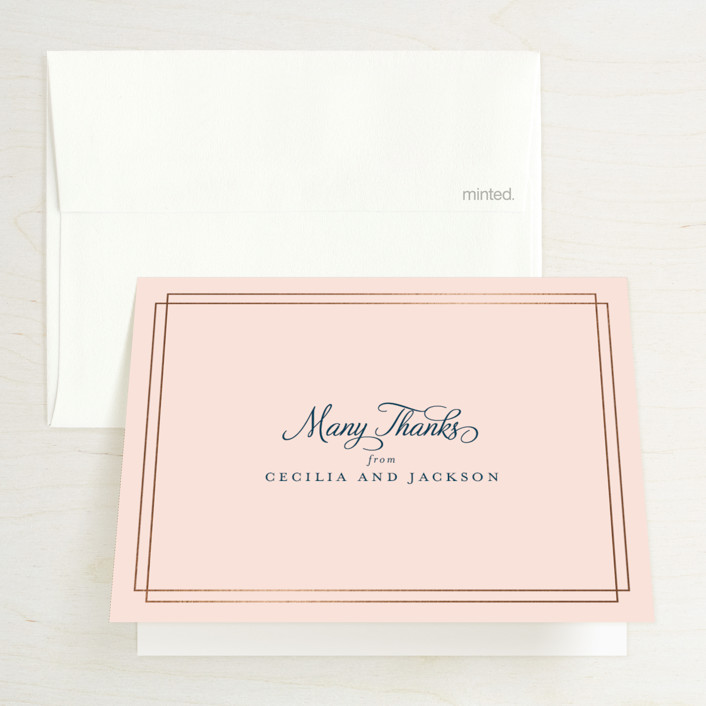 """""""Chic Gala"""" - Classical Foil-pressed Folded Thank You Card in Cotton Candy by Kimberly FitzSimons."""