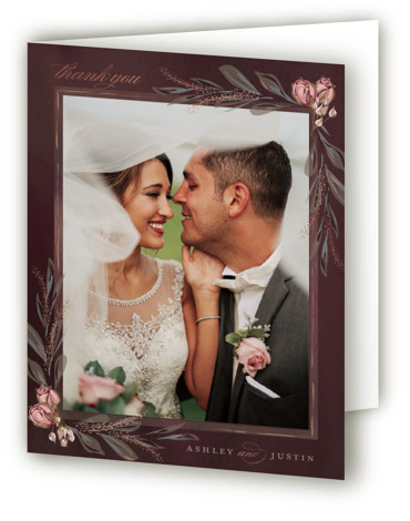 This is a botanical, painterly, red, rosegold Wedding Thank You Cards by Susan Moyal called Verdigris with Foil Pressed printing on Standard Cover in minibook fold over (blank inside) format. This Wedding invitation design features a hand drawn floral frame, ...