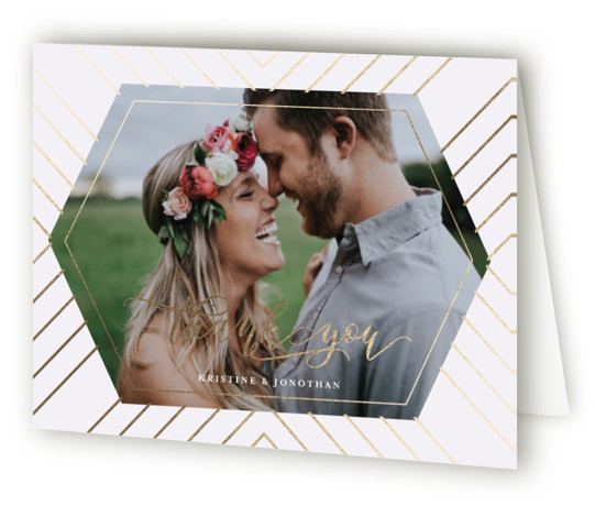 This is a modern, gold, purple Wedding Thank You Cards by chica design called Striped Love with Foil Pressed printing on Standard Cover in minibook fold over (blank inside) format. Geometric wedding invite with striped golden pattern