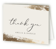 This is a brown wedding thank you card by Iveta Angelova called Haze with foil-pressed printing on strathmore in standard.