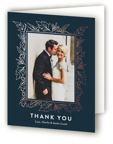 This is a portrait floral, metallic, modern, rustic, blue, rosegold Wedding Thank You Cards by Carolyn Nicks called Delicate Botanicals with Foil Pressed printing on Standard Cover in minibook fold over (blank inside) format. Delicately foiled botanicals frame the sophisticated ...