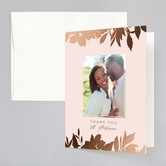 """""""Lavish Bouquet"""" - Foil-pressed Folded Thank You Card in Blush by Everett Paper Goods."""
