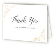 This is a gold wedding thank you card by carly reed walker called Garden Romance with foil-pressed printing on strathmore in standard.