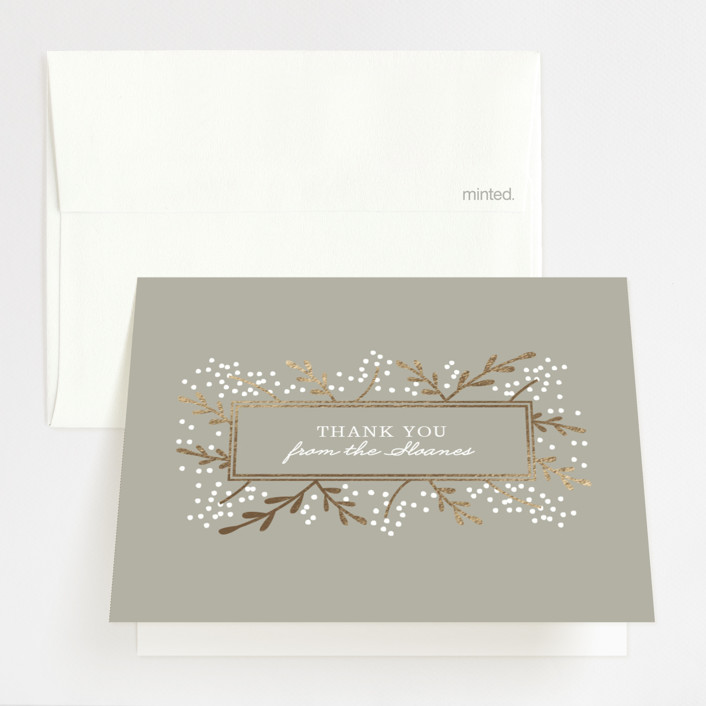 """Gilded Branches"" - Foil-pressed Thank You Cards in Cement by Laura Hankins."