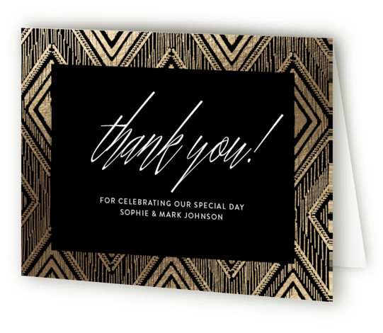 This is a landscape geometric, vintage, black, gold Wedding Thank You Cards by Carolyn Nicks called Gilded Ikat with Foil Pressed printing on Standard Cover in minibook fold over (blank inside) format.