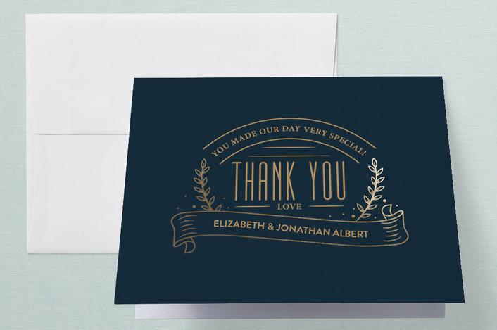 """""""Golden Celebration"""" - Vintage Foil-pressed Thank You Cards in Navy by Joanne James."""