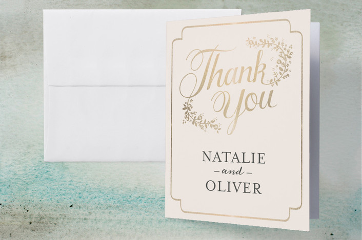 """""""Golden Grace"""" - Rustic Foil-pressed Thank You Cards in Eggshell by Sharon O.."""