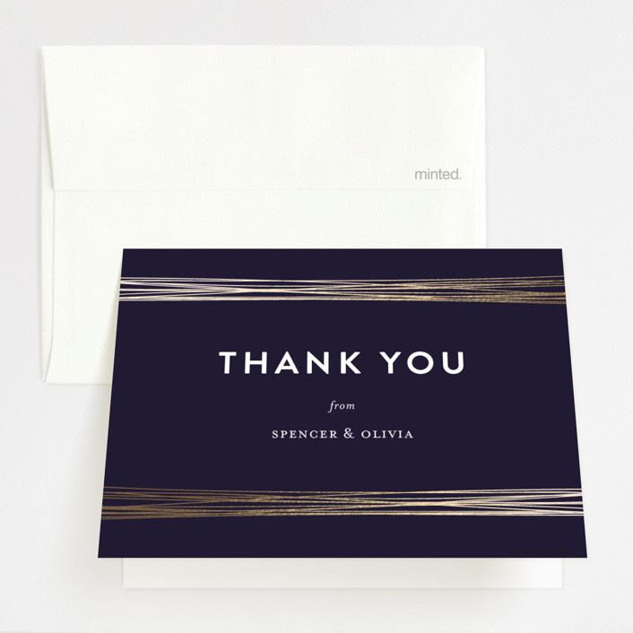 """Golden Threads"" - Foil-pressed Thank You Cards in Night by Lisa Tamura Guerrero."