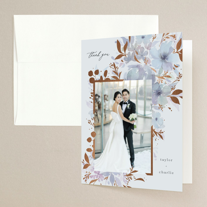 """""""Frosted Blossoms"""" - Foil-pressed Folded Thank You Card in Frost by Four Wet Feet Studio."""