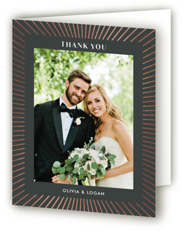 This is a black Wedding Thank You Cards by Shirley Lin Schneider called diamonte rays with Foil Pressed printing on Standard Cover in minibook fold over (blank inside) format. An art deco inspired wedding invitation featuring a geometric diamond