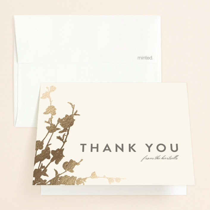 """""""In Bloom"""" - Foil-pressed Thank You Cards in Graphite by Three Kisses Studio."""