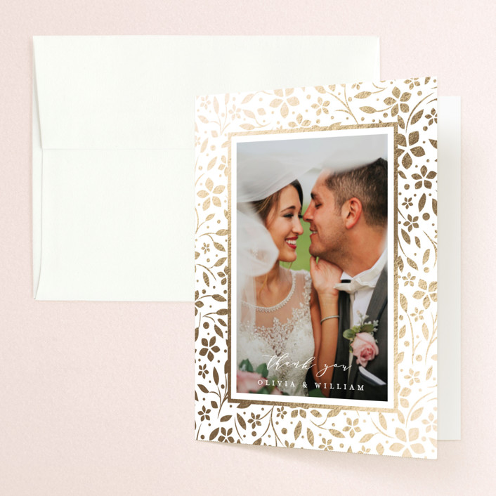 """""""trellis"""" - Rustic Foil-pressed Folded Thank You Card in Flaxen by Melanie Kosuge."""