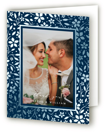This is a portrait botanical, rustic, blue Wedding Thank You Cards by Melanie Kosuge called trellis with Foil Pressed printing on Standard Cover in minibook fold over (blank inside) format. An elegant wedding invitation featuring original, hand drawn illustration.