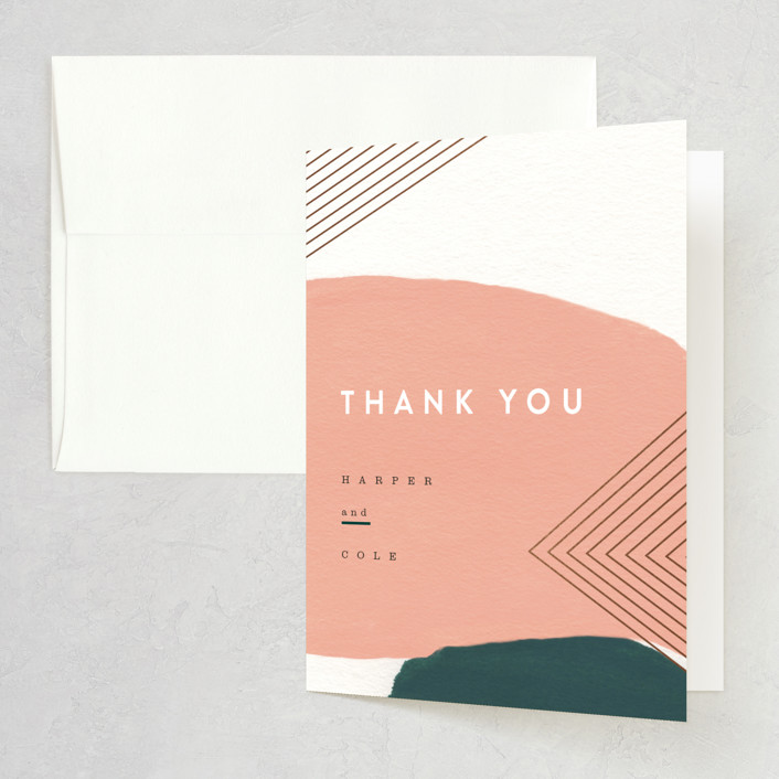 """""""Artful Oneness"""" - Foil-pressed Folded Thank You Card in Cactus by Moglea."""