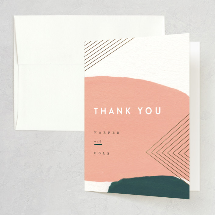 """Artful Oneness"" - Foil-pressed Thank You Cards in Cactus by Moglea."
