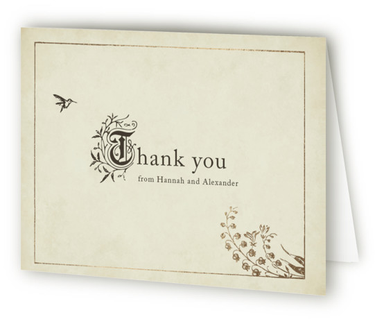 This is a landscape botanical, illustrative, rustic, vintage, whimsical, green Wedding Thank You Cards by Jody Wody called Story Book with Foil Pressed printing on Standard Cover in minibook fold over (blank inside) format. Classic storybook design, with initial flourishes ...
