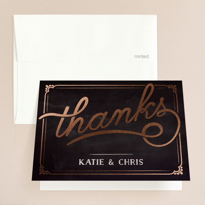 """""""Slated Forever"""" - Bold typographic, Vintage Foil-pressed Folded Thank You Card in Chalkboard by GeekInk Design."""