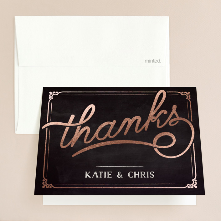 """Slated Forever"" - Bold typographic, Vintage Foil-pressed Folded Thank You Card in Chalkboard by GeekInk Design."
