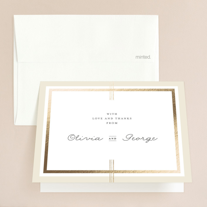 """Three Classic Lines"" - Formal, Classical Foil-pressed Thank You Cards in Barley by fatfatin."