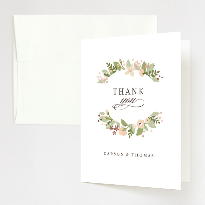 """""""Longwood Estates"""" - Foil-pressed Thank You Cards in Rose Gold by Jennifer Wick."""