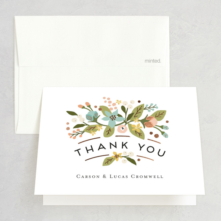 """""""Floral Ampersand"""" - Rustic Foil-pressed Folded Thank You Card in Sea Breeze by Jennifer Wick."""