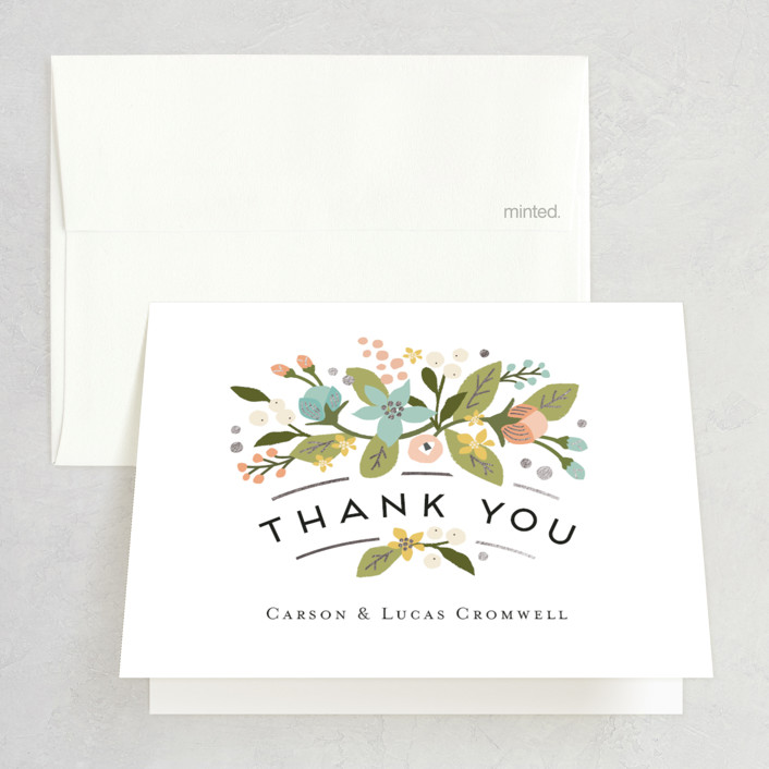 """Floral Ampersand"" - Rustic Foil-pressed Folded Thank You Card in Sea Breeze by Jennifer Wick."