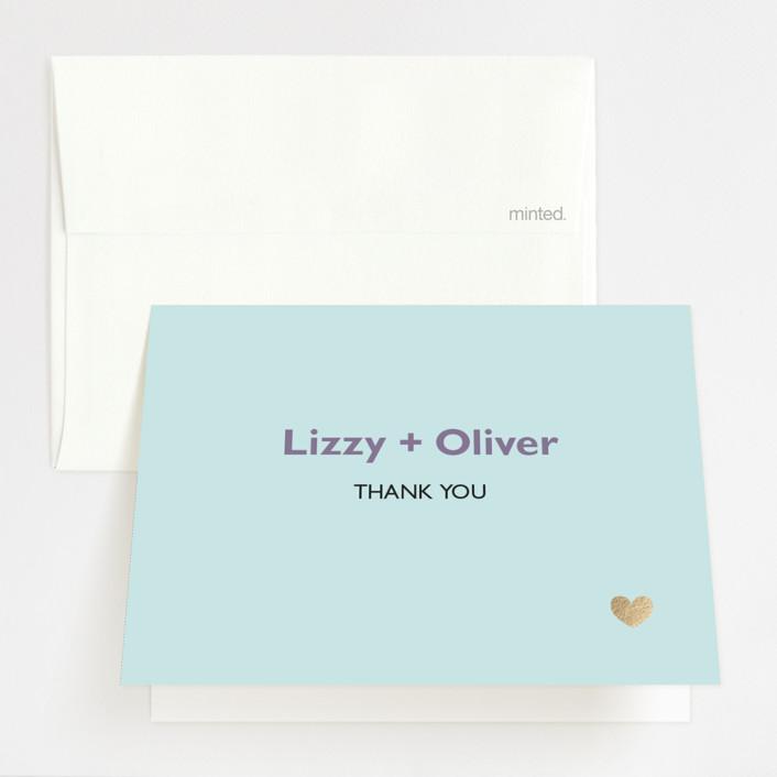 """""""Destination"""" - Foil-pressed Folded Thank You Card in Lilac Haze by leslie hamer."""