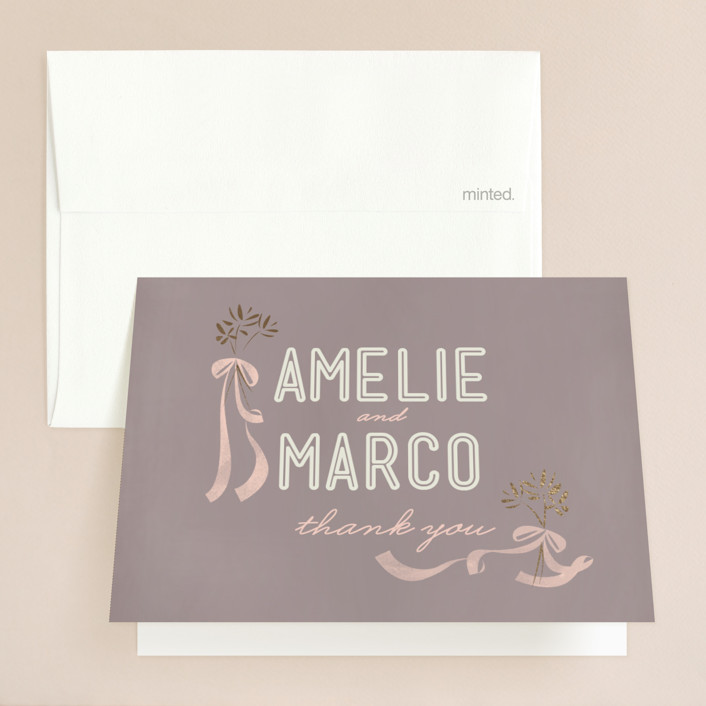 """""""Paris Lights"""" - Rustic, Bohemian Foil-pressed Thank You Cards in Violet by Lori Wemple."""