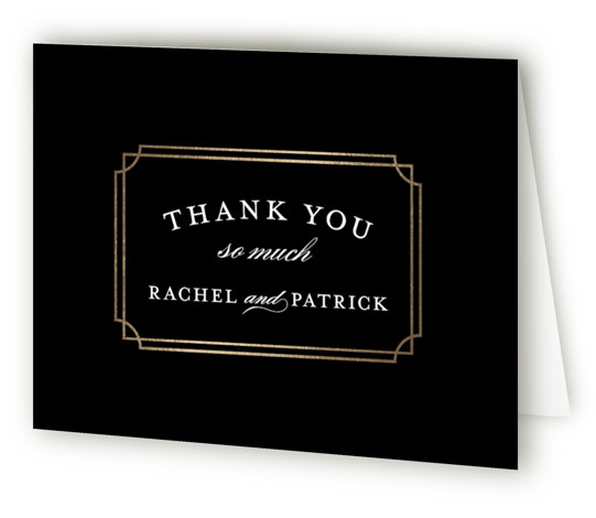 This is a landscape classical, formal, modern, black Wedding Thank You Cards by Sarah Brown called Luxe Border with Foil Pressed printing on Standard Cover in minibook fold over (blank inside) format. Formal type and rich colors give this wedding ...