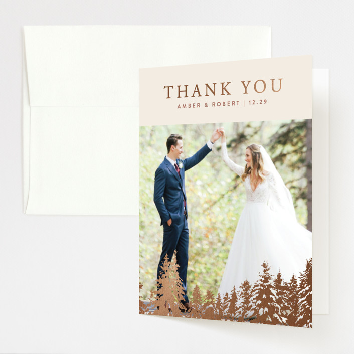 """""""Snowy Pines"""" - Rustic Foil-pressed Folded Thank You Card in Pearl by Gratia Design Co.."""