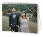 This is a grey wedding thank you card by Carly Reed Walker called Monroe with foil-pressed printing on strathmore in standard.