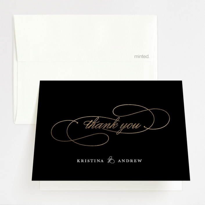 """New York Skyline"" - Modern Foil-pressed Thank You Cards in Onyx by WHALEN."