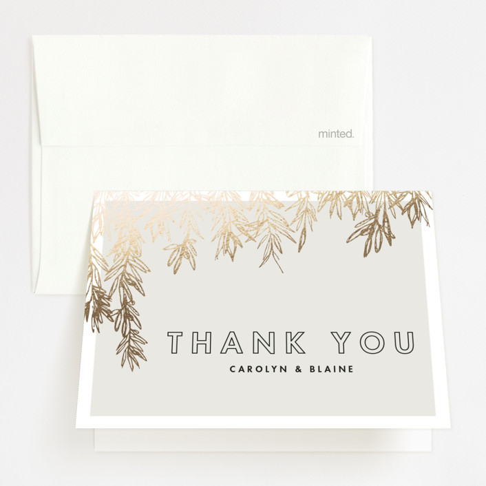"""Olive Branches"" - Rustic Foil-pressed Thank You Cards in Gold by Carolyn Nicks."