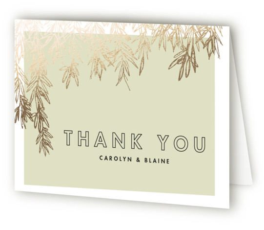 This is a landscape botanical, rustic, green, gold Wedding Thank You Cards by Carolyn Nicks called Olive Branches with Foil Pressed printing on Standard Cover in minibook fold over (blank inside) format.