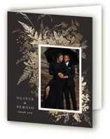 This is a brown wedding thank you card by Leah Bisch called Garden with foil-pressed printing on strathmore in standard.