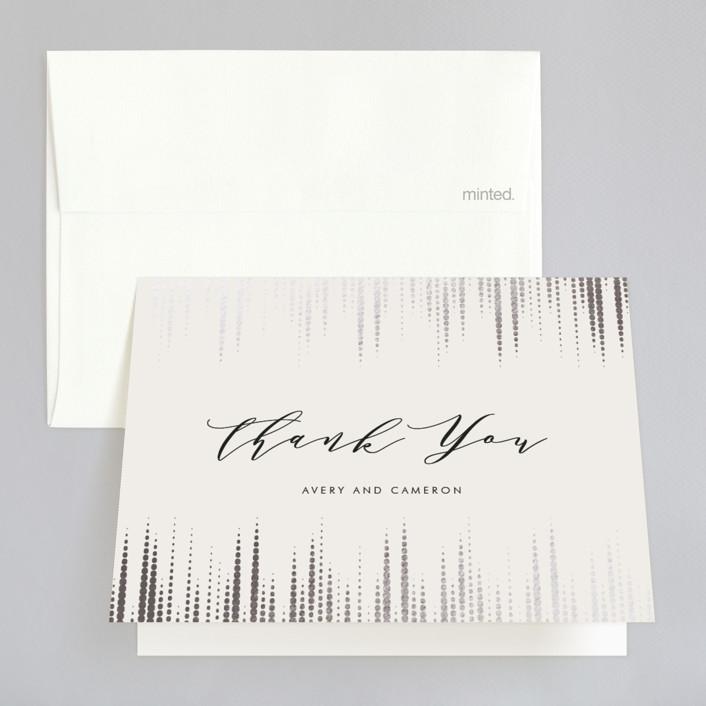"""Symphonic"" - Elegant, Vintage Foil-pressed Thank You Cards in Silver by Lehan Veenker."