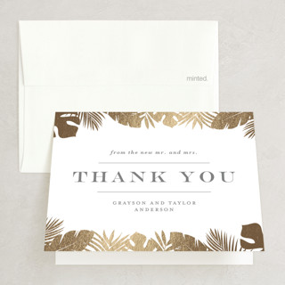 """Gilded Palm"" - Destination, Rustic Foil-pressed Thank You Cards in Gold by Lauren Chism."