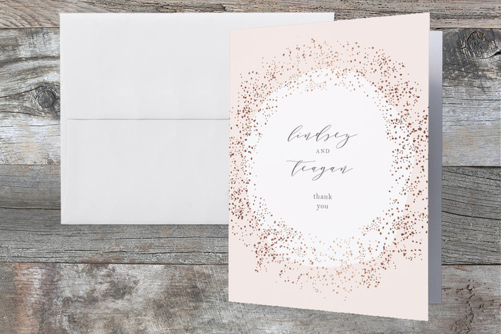 """""""Dreamy"""" - Bohemian Foil-pressed Thank You Cards in Rose Gold by Phrosne Ras."""