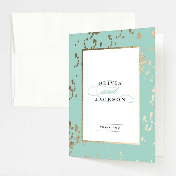 """Plunge"" - Foil-pressed Thank You Cards in Mint by Carrie ONeal."