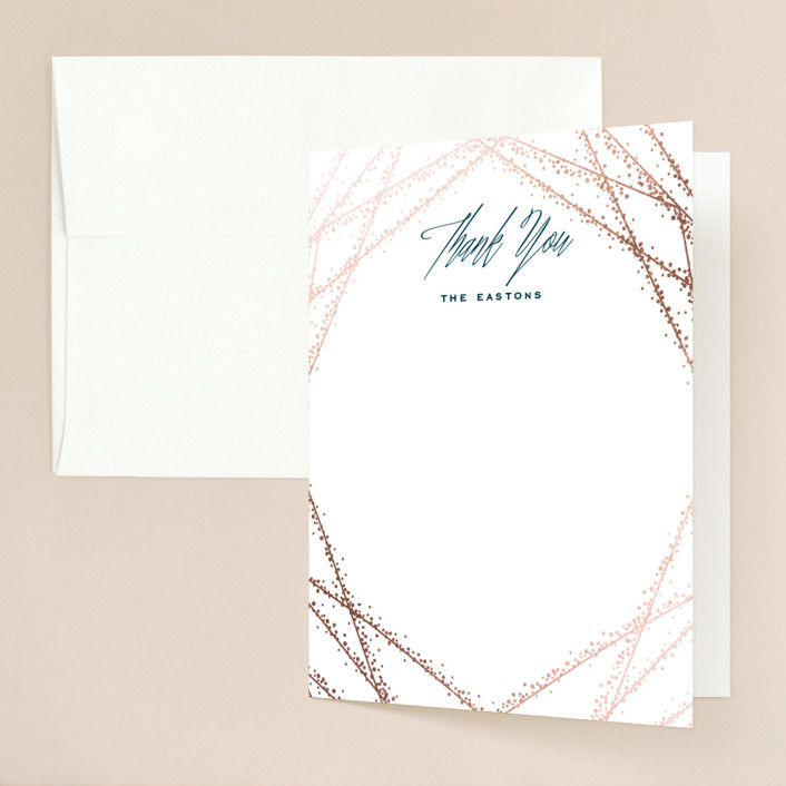 """""""Starcrossed"""" - Foil-pressed Folded Thank You Card in Twilight by Ashley Hegarty."""