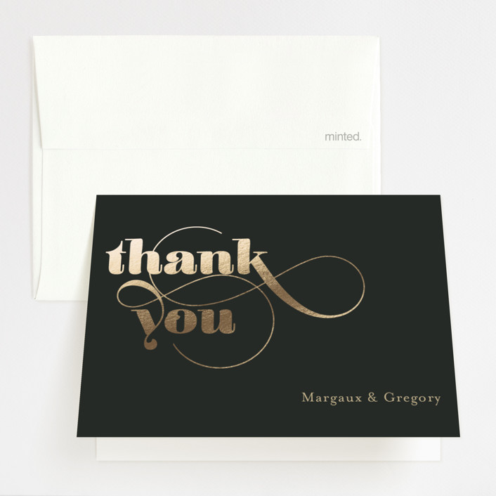 """""""Swirling Romance"""" - Foil-pressed Thank You Cards in Charcoal by Chryssi Tsoupanarias."""